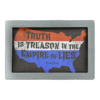 La verdad es traición en el imperio de mentiras hebillas de cinturón rectangulares