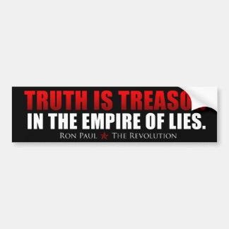 La verdad es traición - Ron Paul Pegatina De Parachoque