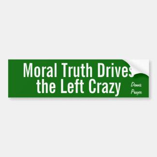 La verdad moral conduce la izquierda loca pegatina de parachoque