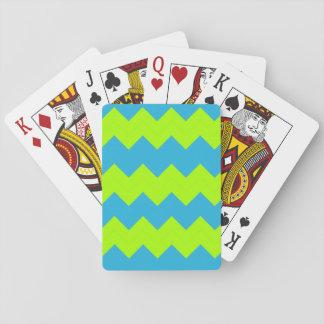 La verde lima, aguamarina zigzaguea barajas de cartas