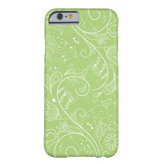 La verde lima bosquejó el iPhone floral blanco 6 Funda Barely There iPhone 6