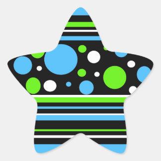La verde lima de las azules turquesas del trullo pegatina en forma de estrella