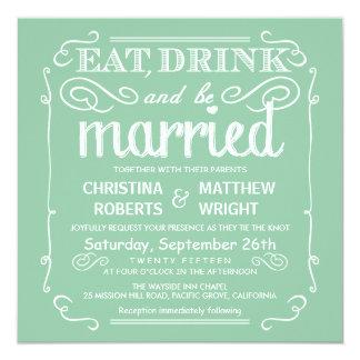 """La verde menta come la bebida y sea boda casado invitación 5.25"""" x 5.25"""""""