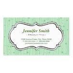 La verde menta elegante puntea rayas plantillas de tarjetas personales