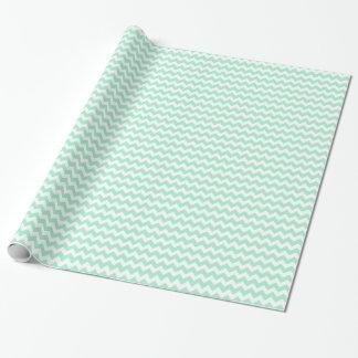 La verde menta elegante zigzaguea modelo del galón papel de regalo