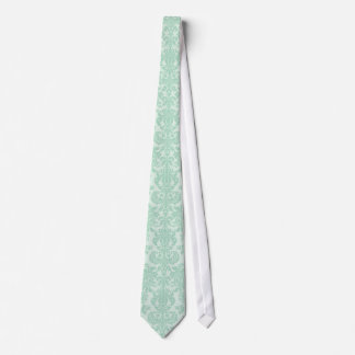 La verde menta entona el modelo floral del damasco corbata