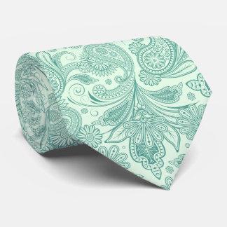 La verde menta entona el vintage Paisley adornada Corbatas