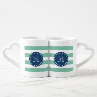 La verde menta raya el modelo, monograma de los set de tazas de café