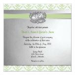 La verde salvia y el boda elegante de la plata invitación 13,3 cm x 13,3cm