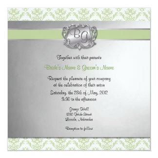 """La verde salvia y el boda elegante de la plata invitación 5.25"""" x 5.25"""""""