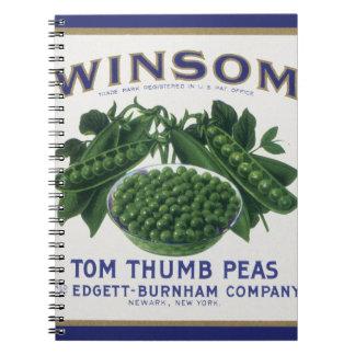 La verdura del vintage puede etiquetar el arte, cuaderno