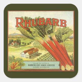 La verdura del vintage puede etiquetar el arte, pegatina cuadrada
