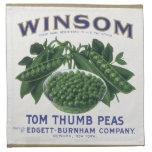 La verdura del vintage puede etiquetar el arte, servilletas de papel