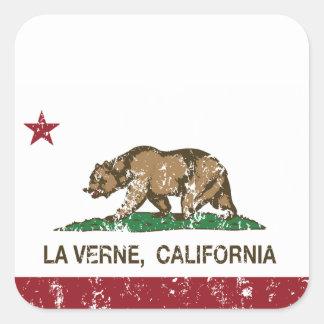 La Verne de la bandera del estado de California Pegatina Cuadrada