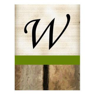 La vertical del monograma de W sube a Impasto Postales