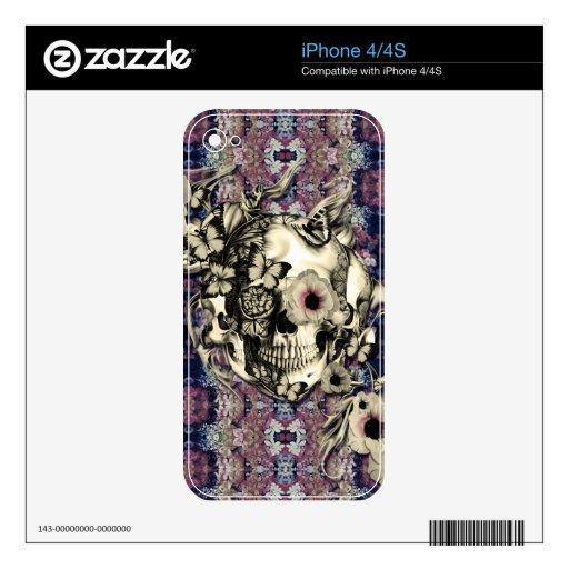 La vez quizá próxima, cráneo con las amapolas calcomanía para iPhone 4S