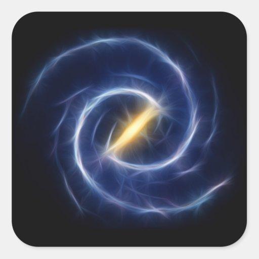 La vía láctea protagoniza la galaxia espiral calcomanía cuadradas personalizadas