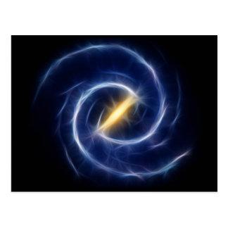 La vía láctea protagoniza la galaxia espiral tarjeta postal