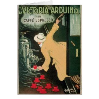 La Victoria Arduino Vintage Coffee Drink Ad Art Card