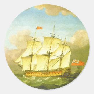 La victoria que deja el canal en 1793 por Swaine Pegatina Redonda