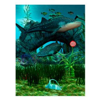 La vida acuática 3D de la llamada Tarjeta Postal