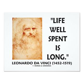 """La vida bien empleada es larga (la cita de invitación 4.25"""" x 5.5"""""""