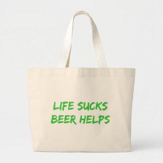 La vida chupa ayudas de la cerveza bolsas