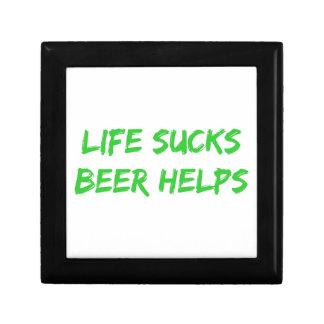 La vida chupa ayudas de la cerveza cajas de joyas