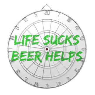 La vida chupa ayudas de la cerveza tablero de dardos