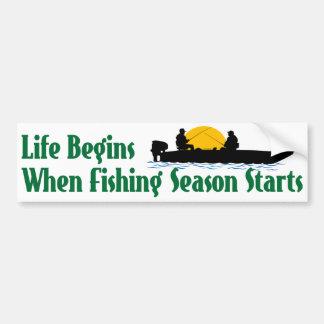 La vida comienza cuando la temporada de pesca pegatina para auto