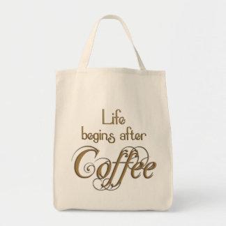 La vida comienza después de café bolsa lienzo