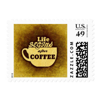 La vida comienza después de café timbre postal
