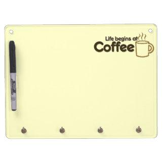 La vida comienza en el café pizarras blancas