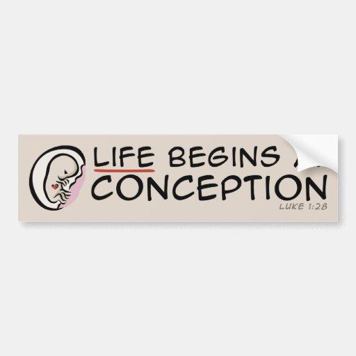 La vida comienza en el concepto pegatina para auto