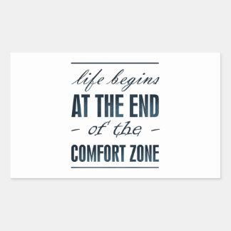 la vida comienza en el final de la zona de pegatina rectangular