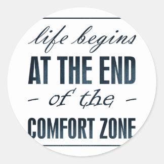 la vida comienza en el final de la zona de pegatina redonda