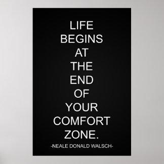 La vida comienza en el final de su zona de comodid póster