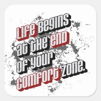 La vida comienza en el final de su zona de pegatina cuadrada