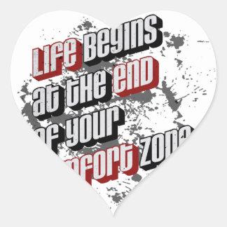 La vida comienza en el final de su zona de pegatina en forma de corazón