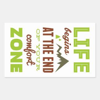 La vida comienza en el final de su zona de pegatina rectangular