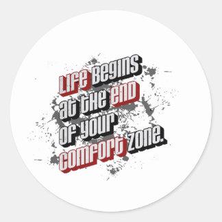La vida comienza en el final de su zona de pegatina redonda