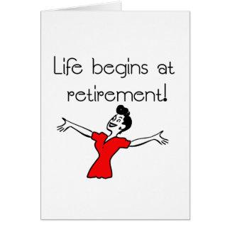 ¡La vida comienza en el retiro! Regalos de la Tarjeta De Felicitación