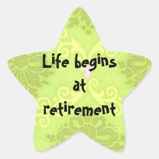 """La """"vida comienza en los pegatinas del retiro"""" pegatina en forma de estrella"""