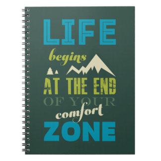 La vida comienza la impresión inspirada de la libro de apuntes