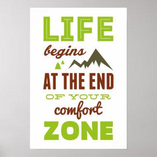 ¡La vida comienza! Poster inspirado del vintage
