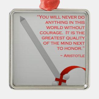 La vida de Aristóteles del valor y del honor Adorno Navideño Cuadrado De Metal