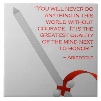 La vida de Aristóteles del valor y del honor Azulejo Cuadrado Grande