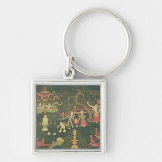 La vida de Buda Shakyamuni Llavero Cuadrado Plateado