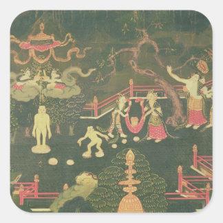 La vida de Buda Shakyamuni Pegatina Cuadrada