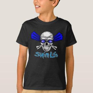 La vida de la nadada embroma la camiseta oscura